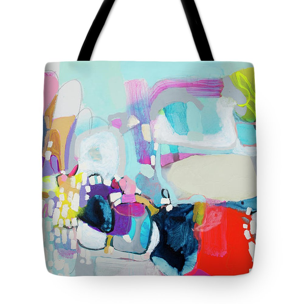 Abstract Tote Bag featuring the painting Can't Wait by Claire Desjardins