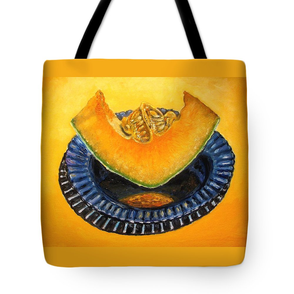 Cantaloupe Tote Bag featuring the painting Cantaloupe Oil Painting by Natalja Picugina