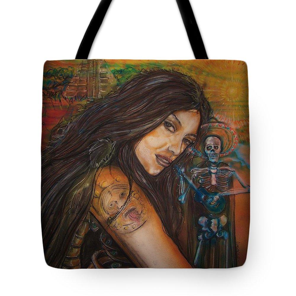 Skeleton Tote Bag featuring the painting Cantando A Nuestros Pecados by Americo Salazar