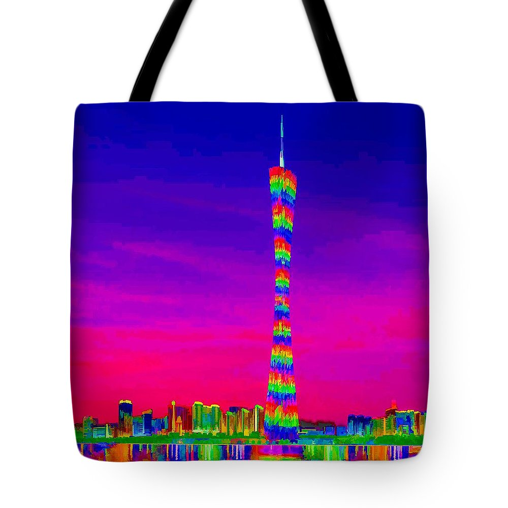 Canton Tower Tote Bag featuring the painting Canton Tower by Jeelan Clark
