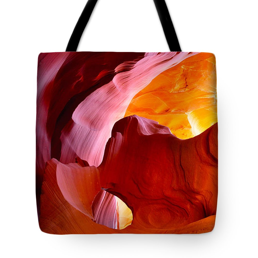 Canyon Tote Bag featuring the mixed media Canyon Dreams 4 by Garland Johnson