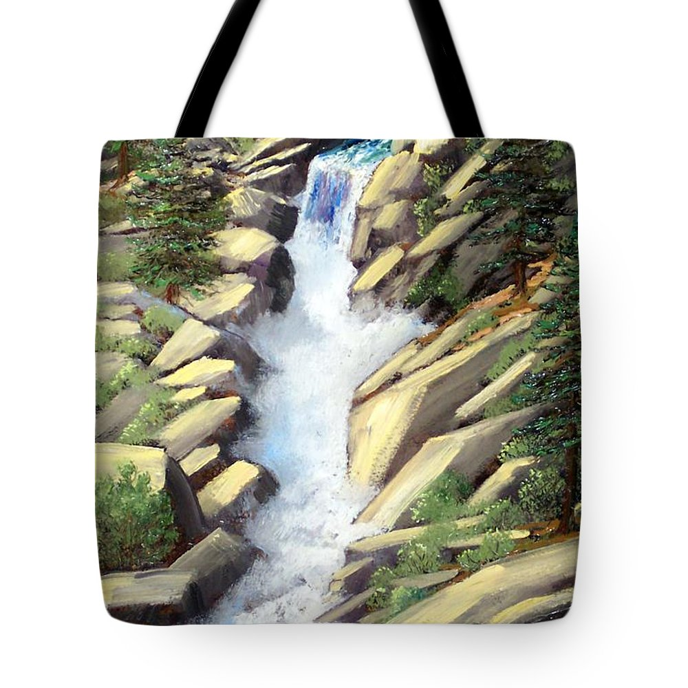 Landscape Tote Bag featuring the painting Canyon Falls by Frank Wilson
