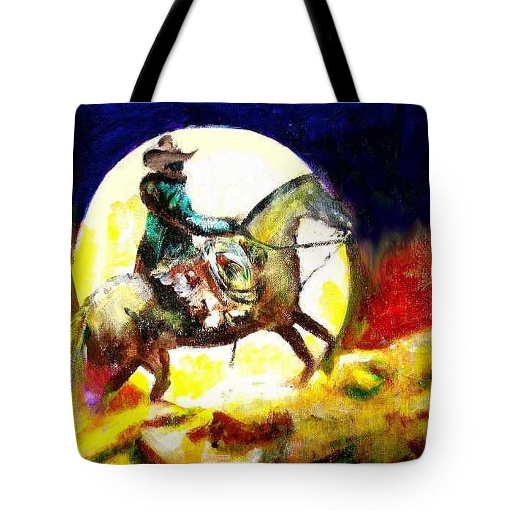 Canyon Moon Tote Bag featuring the painting Canyon Moon by Seth Weaver