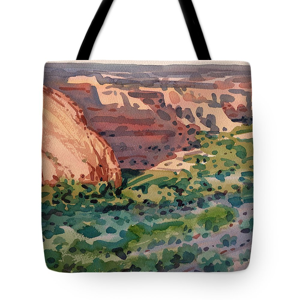 Canyon De Chelly Tote Bag featuring the painting Canyon Shadows by Donald Maier