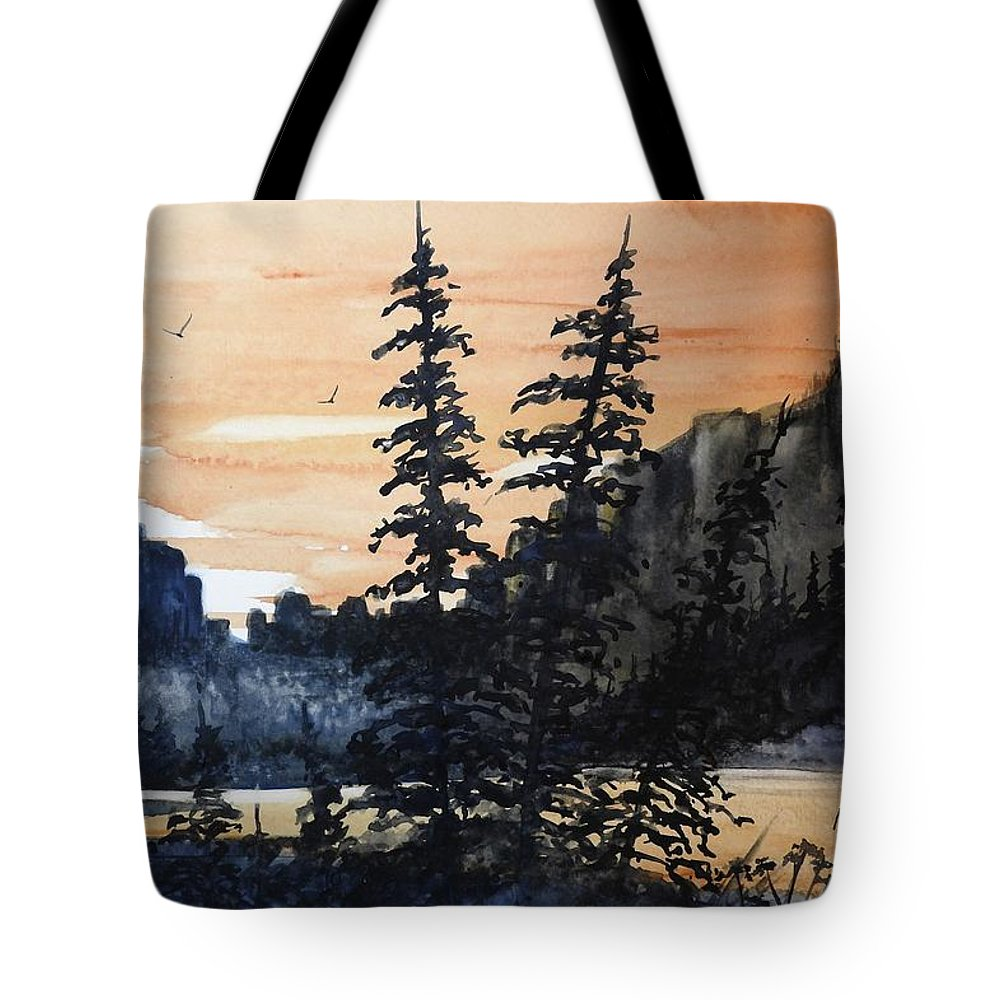 Canyon Trees Tote Bag featuring the painting Canyon Trees, Watercolor by David K Myers