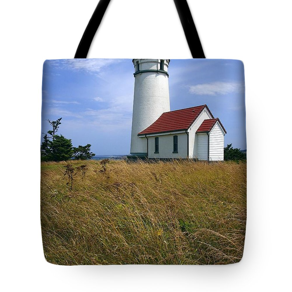 Lighthouse Oregon cape Blanco Light Coast Tote Bag featuring the photograph Cape Blanco Light by Winston Rockwell