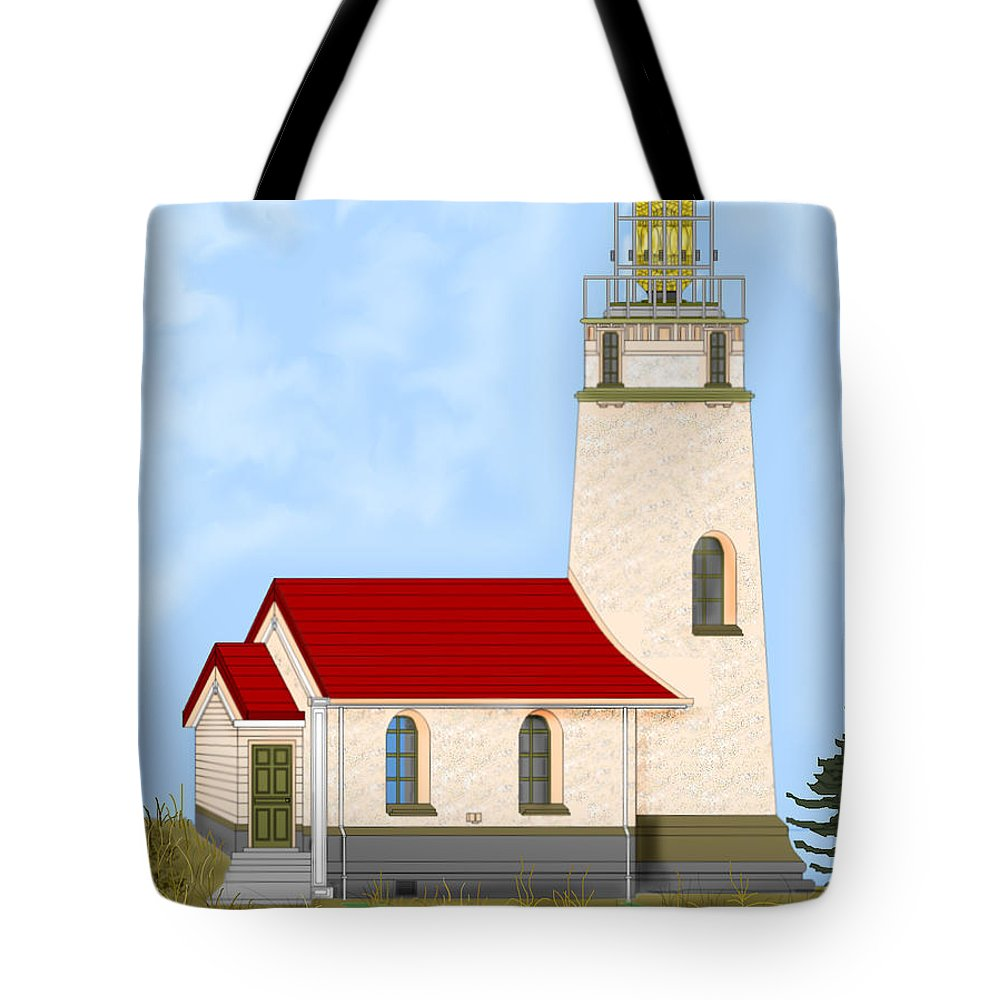 Lighthouse Tote Bag featuring the painting Cape Blanco Oregon by Anne Norskog
