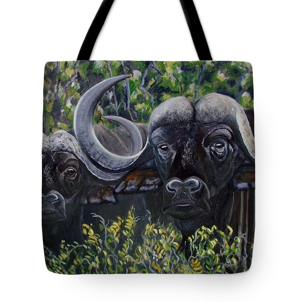 Buffalo Tote Bag featuring the painting Cape Buffalo First Painting by Caroline Street