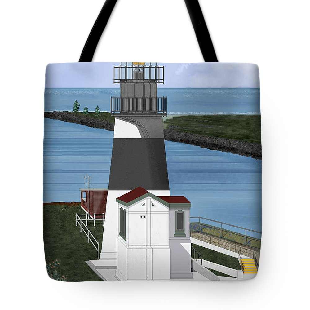 Lighthouse Tote Bag featuring the painting Cape Disappointment At Fort Canby Washington by Anne Norskog