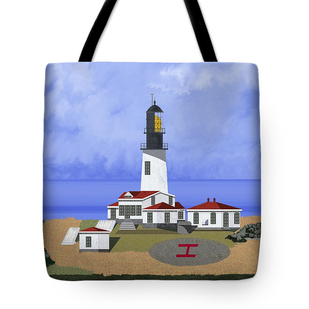 Seascape Tote Bag featuring the painting Cape Flattery Lighthouse On Tatoosh Island by Anne Norskog