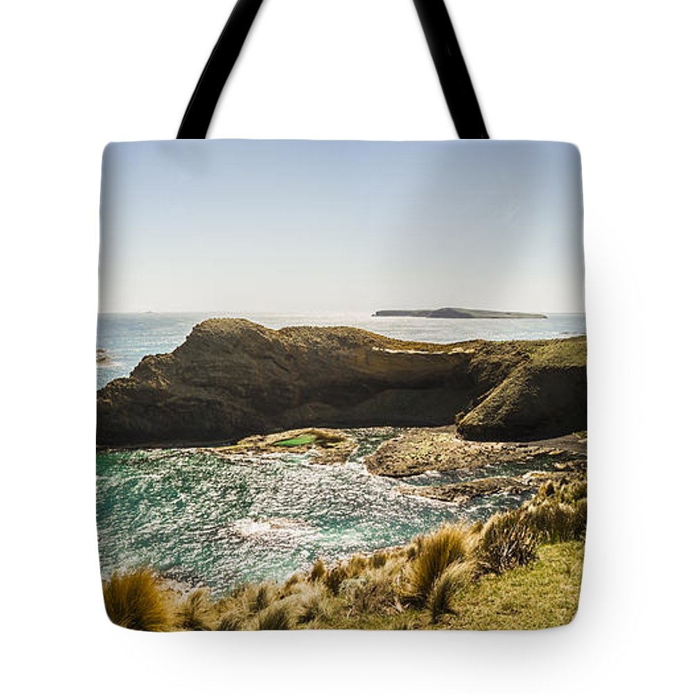Tasmania Tote Bag featuring the photograph Cape Grim Cliff Panoramic by Jorgo Photography - Wall Art Gallery