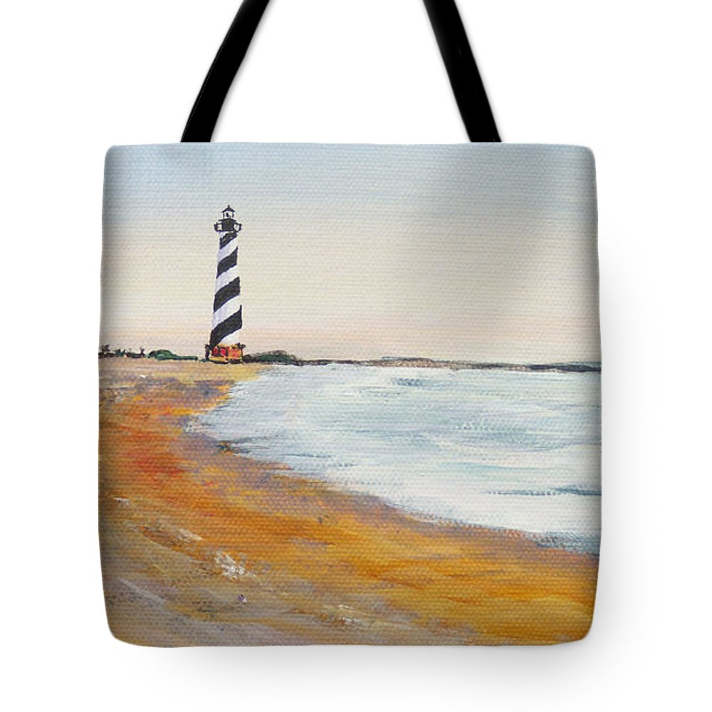 Cape Hatteras Tote Bag featuring the painting Cape Hatteras Lighthouse by Anne Marie Brown