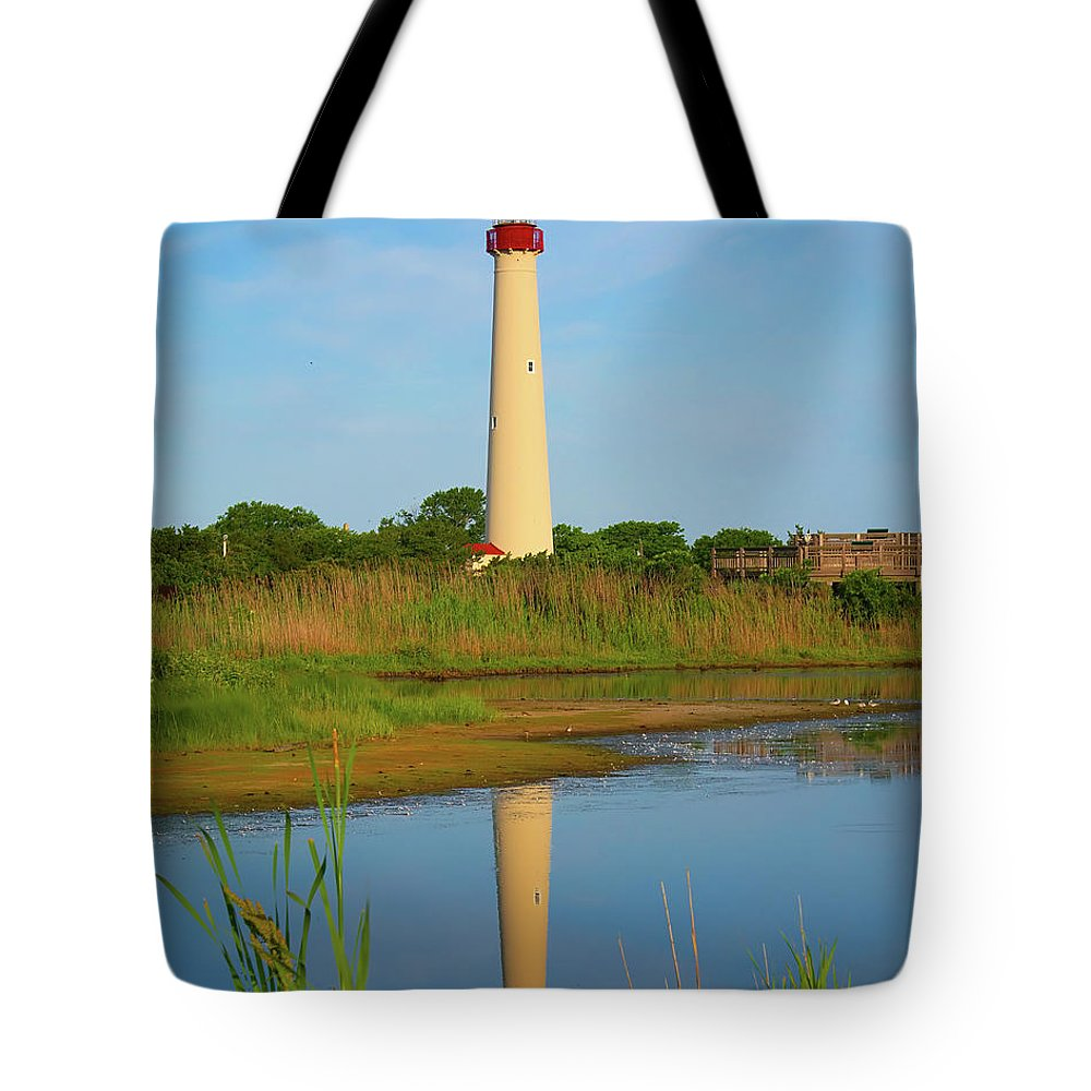 Architecture Tote Bag featuring the photograph Cape May Morning Reflection by Nick Zelinsky