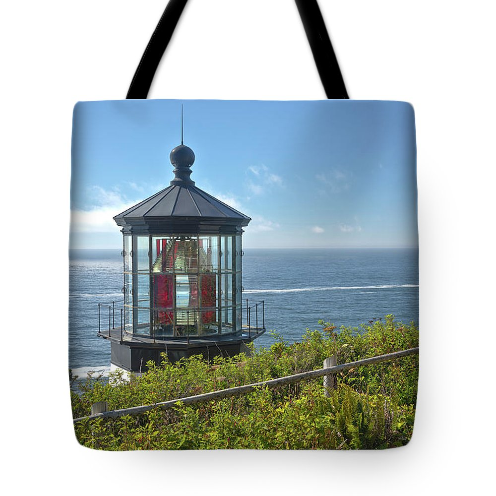 Cape Meares Lighthouse Tote Bag featuring the photograph Cape Meares Lighthouse Oregon Coast. by Gino Rigucci
