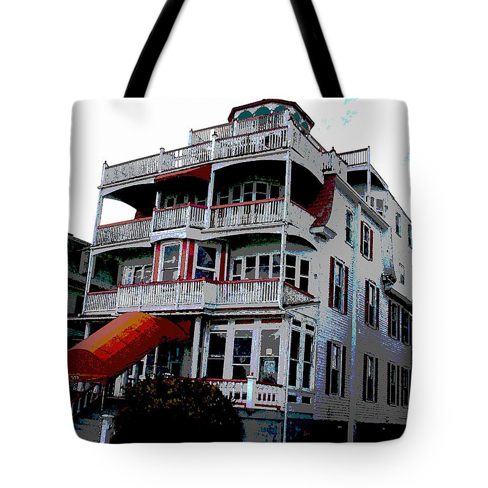 Cape May Tote Bag featuring the digital art Cape Scape B by Fritz - Steven Weiss
