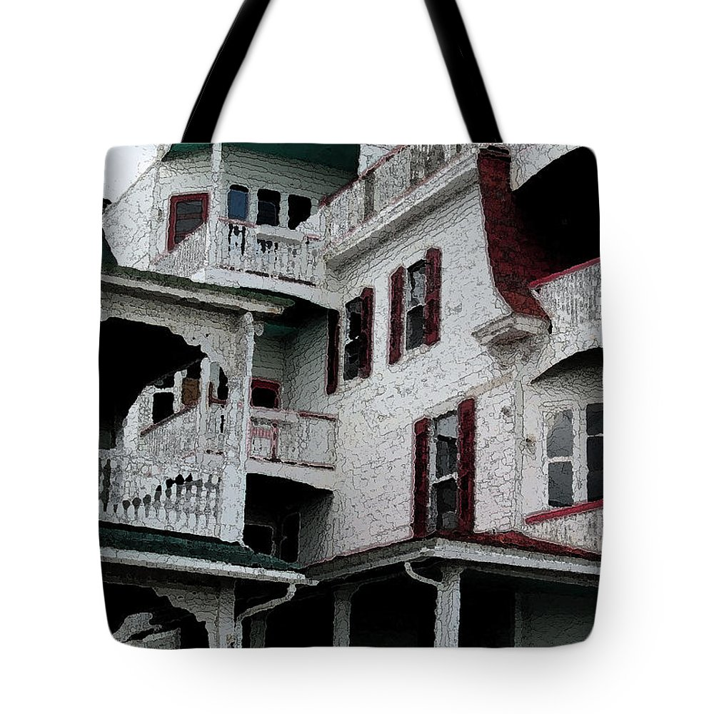 Cape May Tote Bag featuring the digital art Cape Scape F by Fritz - Steven Weiss