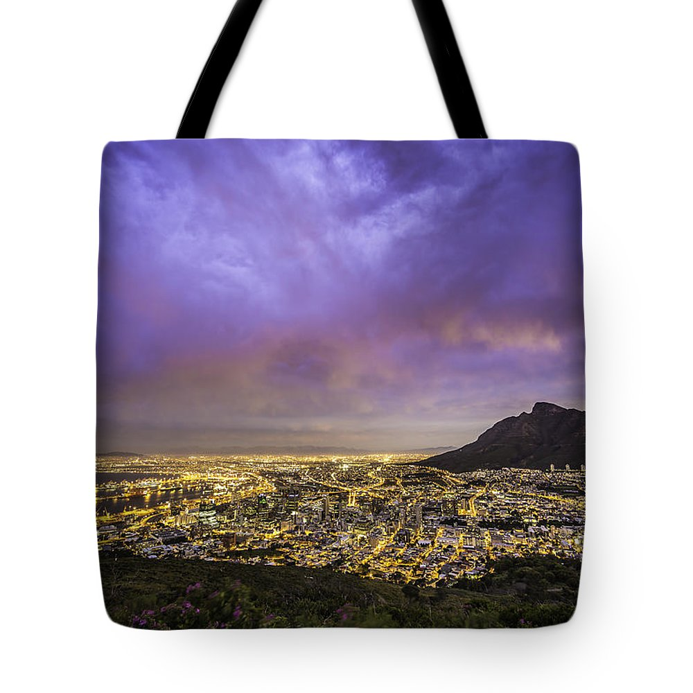 Landscape Tote Bag featuring the photograph Cape Town From Signal Hill At Sunset by Simone Zanetti