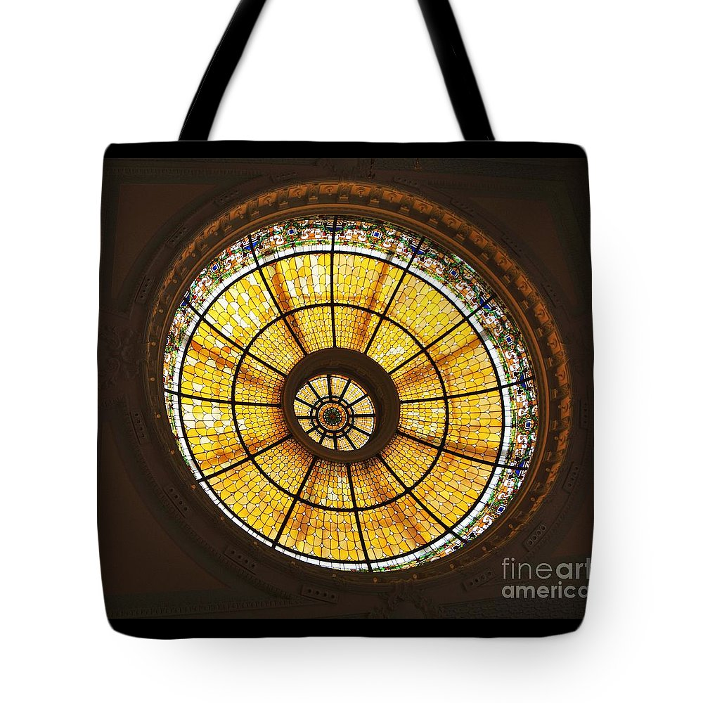 Stained Glass Photography Historic Building Photography Glass Photography Dome Photography Capital One Bank Photography Art Photography Iconic Image Photography Canvas Print Metal Frame Poster Print Available On T Shirts Tote Bags Duvet Covers Shower Curtains And Phone Cases Tote Bag featuring the photograph Capital One Bank Building Dome by Poet's Eye