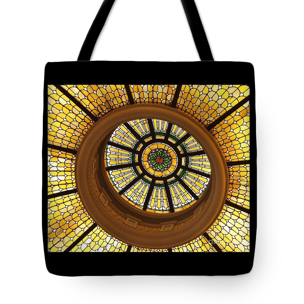 Stained Glass Dome Yellow Architectural Glass Tiffany Style Historic Building Bank Whimsical Dramatic National Register Of Historic Buildings Circles Baltimore Iconic Image Capital One Bank Building Metal Frame Canvas Print Poster Print Available On Tote Bags T Shirts Shower Curtains Throw Pillows Duvet Covers Round Beach Towels Weekender Tote Mugs And Phone Cases Tote Bag featuring the photograph Capital One Bank Dome Close Up by Poet's Eye