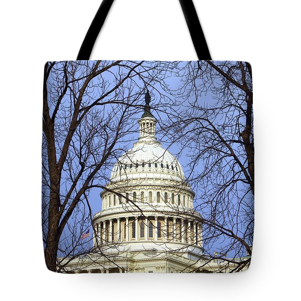 Capitol Tote Bag featuring the photograph Capitol by Mitch Cat