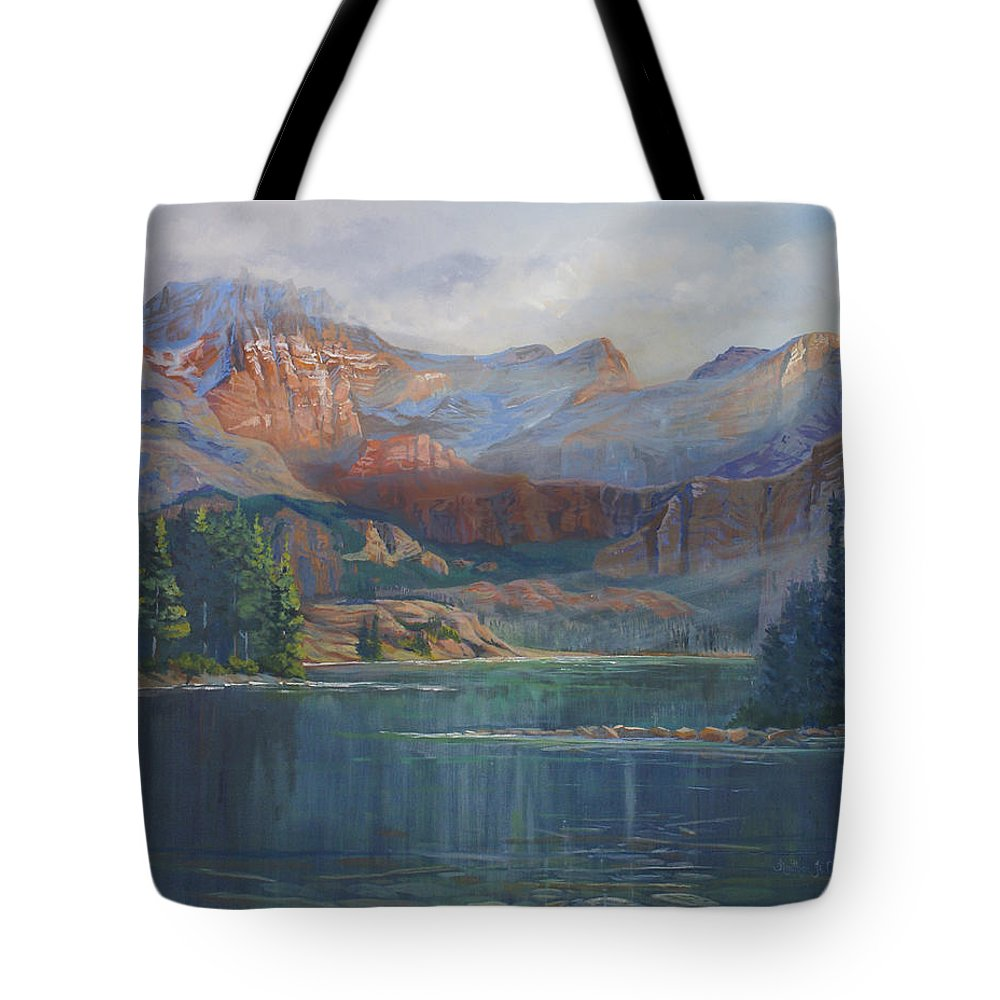 Capital Peak Tote Bag featuring the painting Capitol Peak Rocky Mountains by Heather Coen
