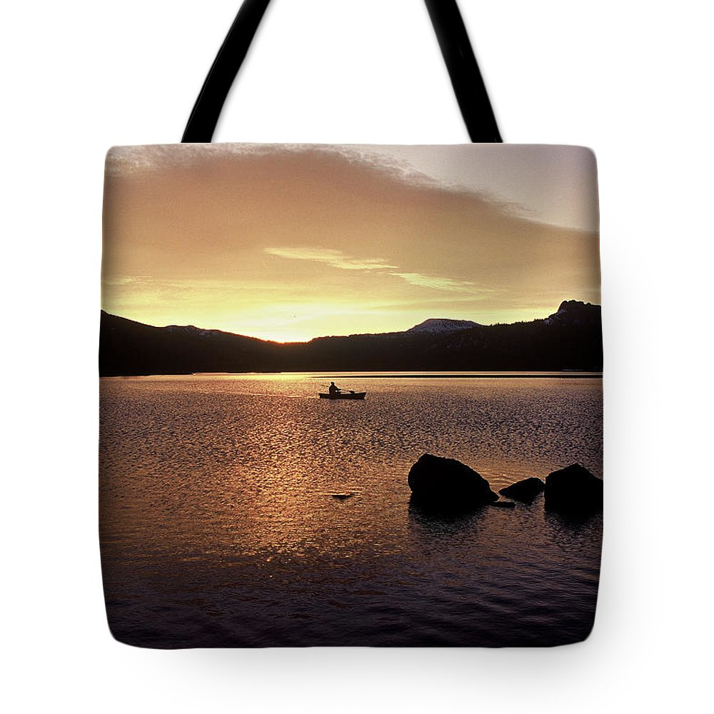 Sunrise. Caples Lake Tote Bag featuring the photograph Caples Lake by JOANNE McCubrey
