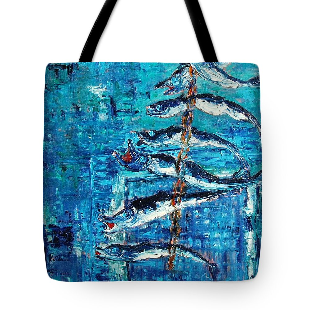 Fish Painting Tote Bag featuring the painting Caplin by Seon-Jeong Kim