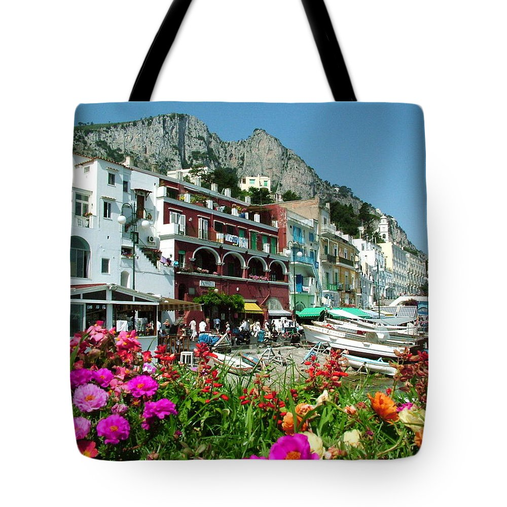 Capri Tote Bag featuring the photograph Capri by Donna Corless