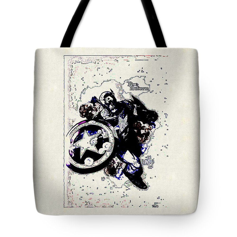Captain America Tote Bag featuring the digital art Captain America by Lora Battle