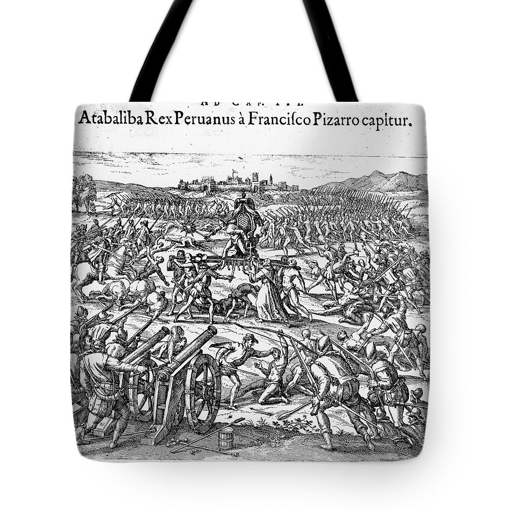 1532 Tote Bag featuring the photograph Capture Of Atahualpa, 1532 by Granger