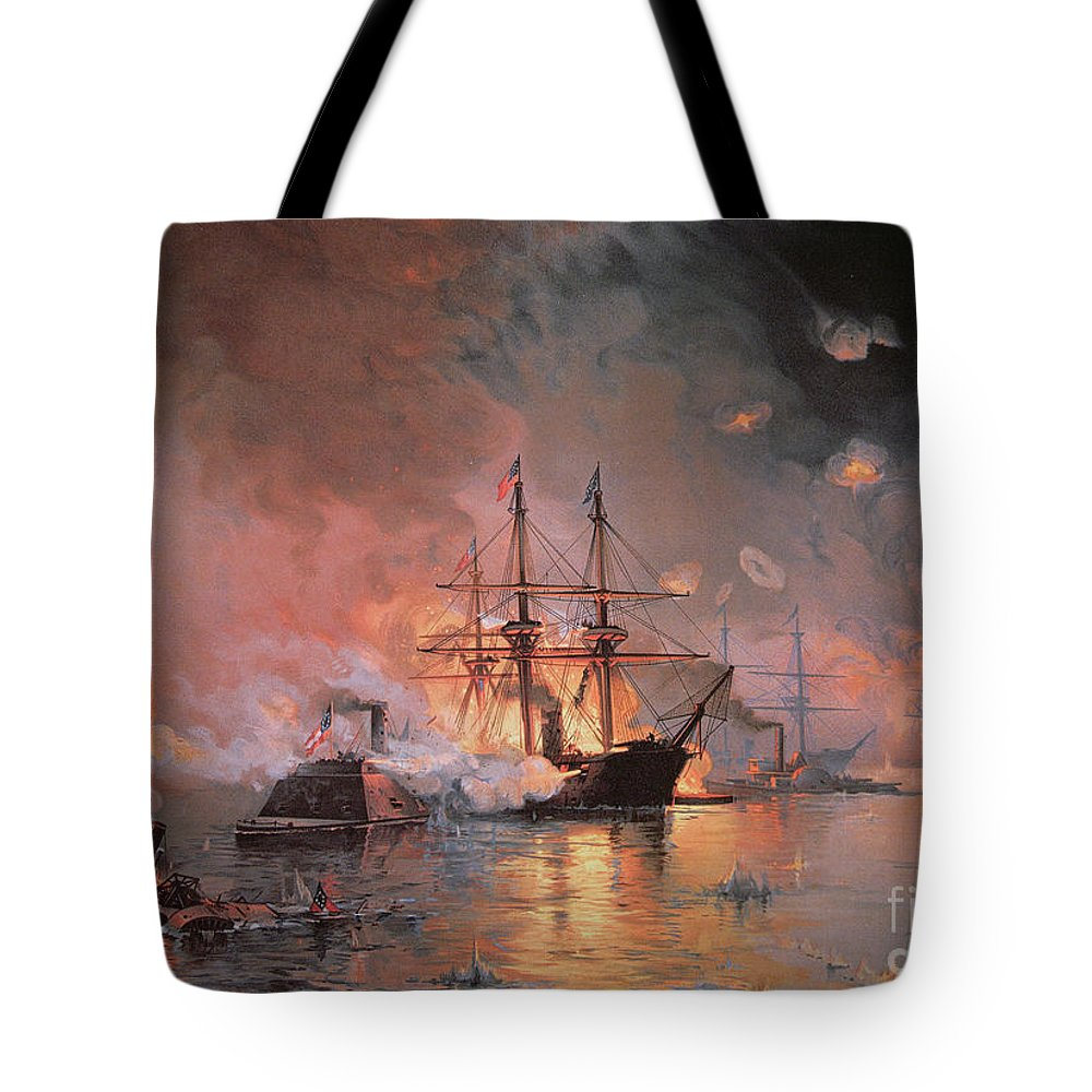 Capture Of New Orleans By Union Flag Officer David G. Farragut Tote Bag featuring the painting Capture Of New Orleans By Union Flag Officer David G Farragut by Julian Oliver Davidson