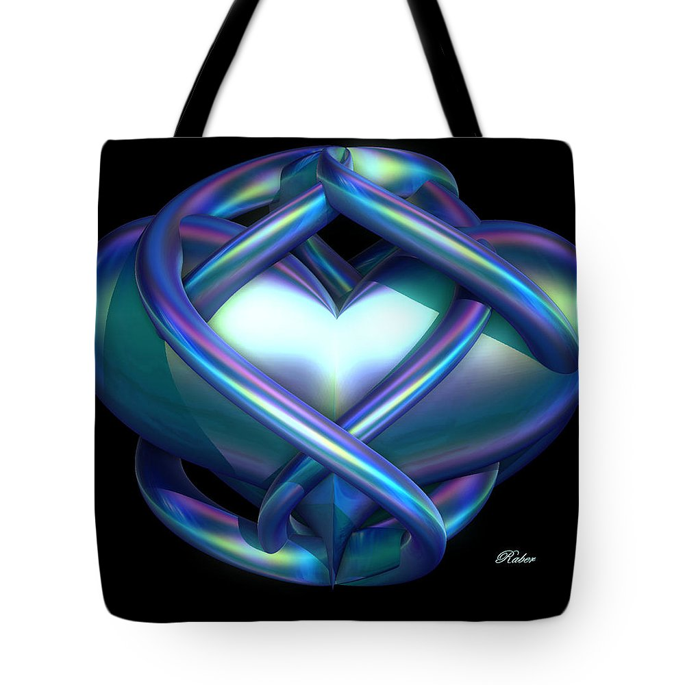 Heart Tote Bag featuring the digital art Captured Heart by Sara Raber