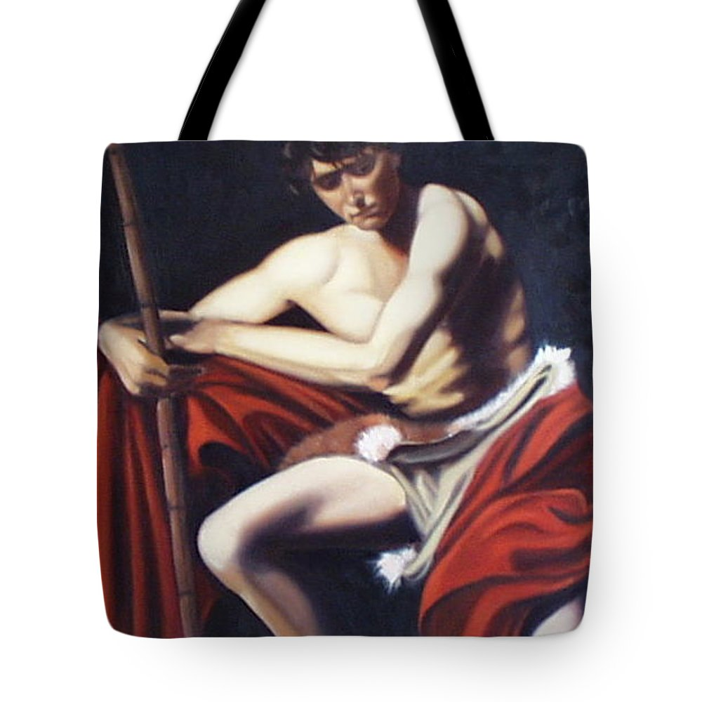 Caravaggio Tote Bag featuring the painting Caravaggio's John The Baptist Study by Toni Berry