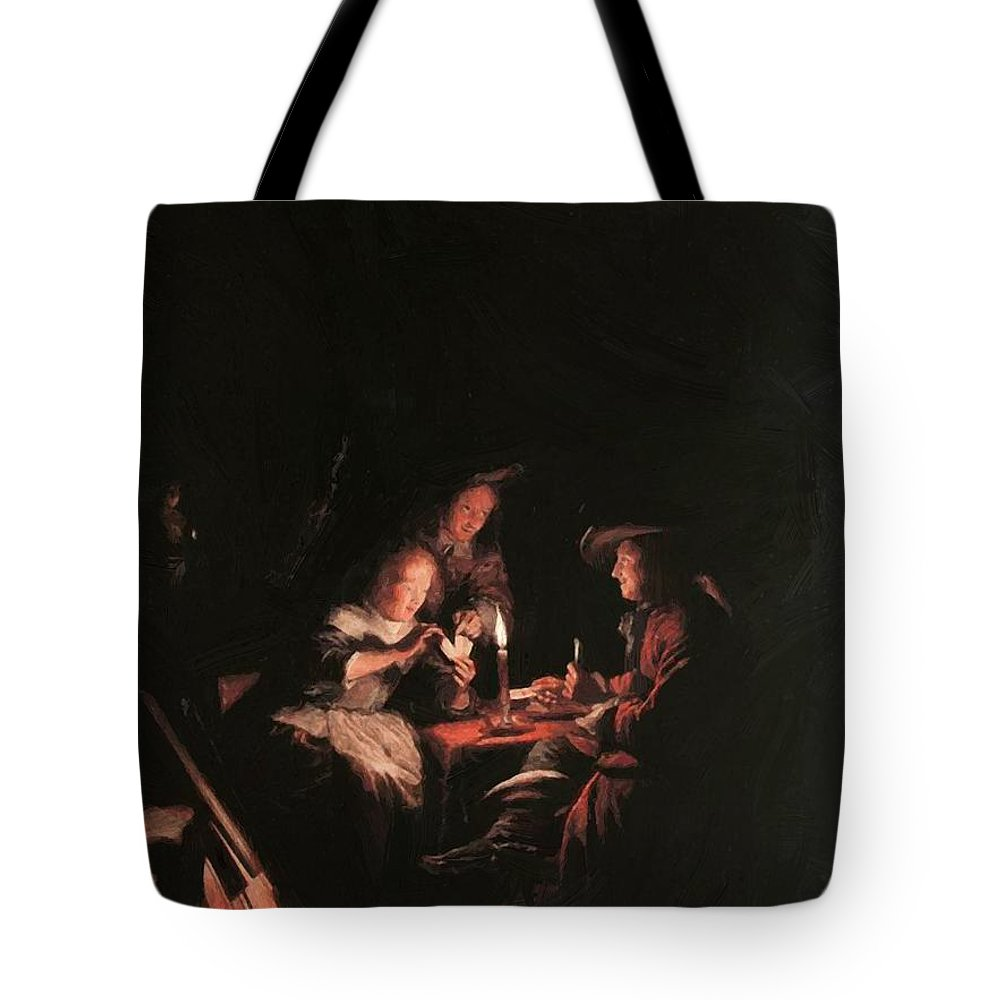 Card Tote Bag featuring the painting Card Players At Candlelight by Dou Gerrit