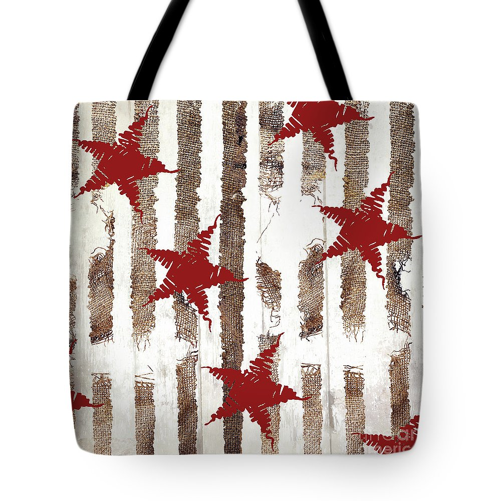 Christmas Pattern Tote Bag featuring the painting Cardinal Holiday Burlap Star Pattern by Mindy Sommers