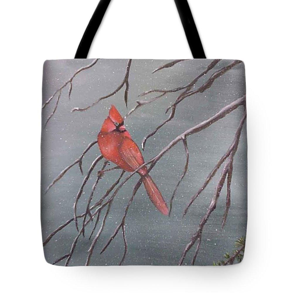 Birds Tote Bag featuring the painting Cardinal In The Winter by Barbara a King