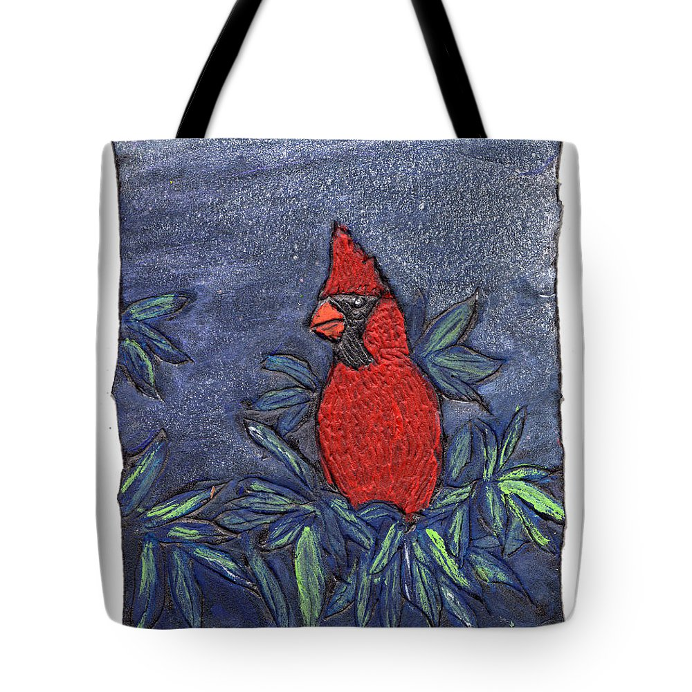Bird Tote Bag featuring the painting Cardinal In Winter by Wayne Potrafka