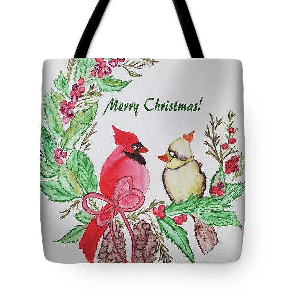 Tote Bag featuring the photograph Cardinals Painted By Debbie Woodrow by Debbie Woodrow