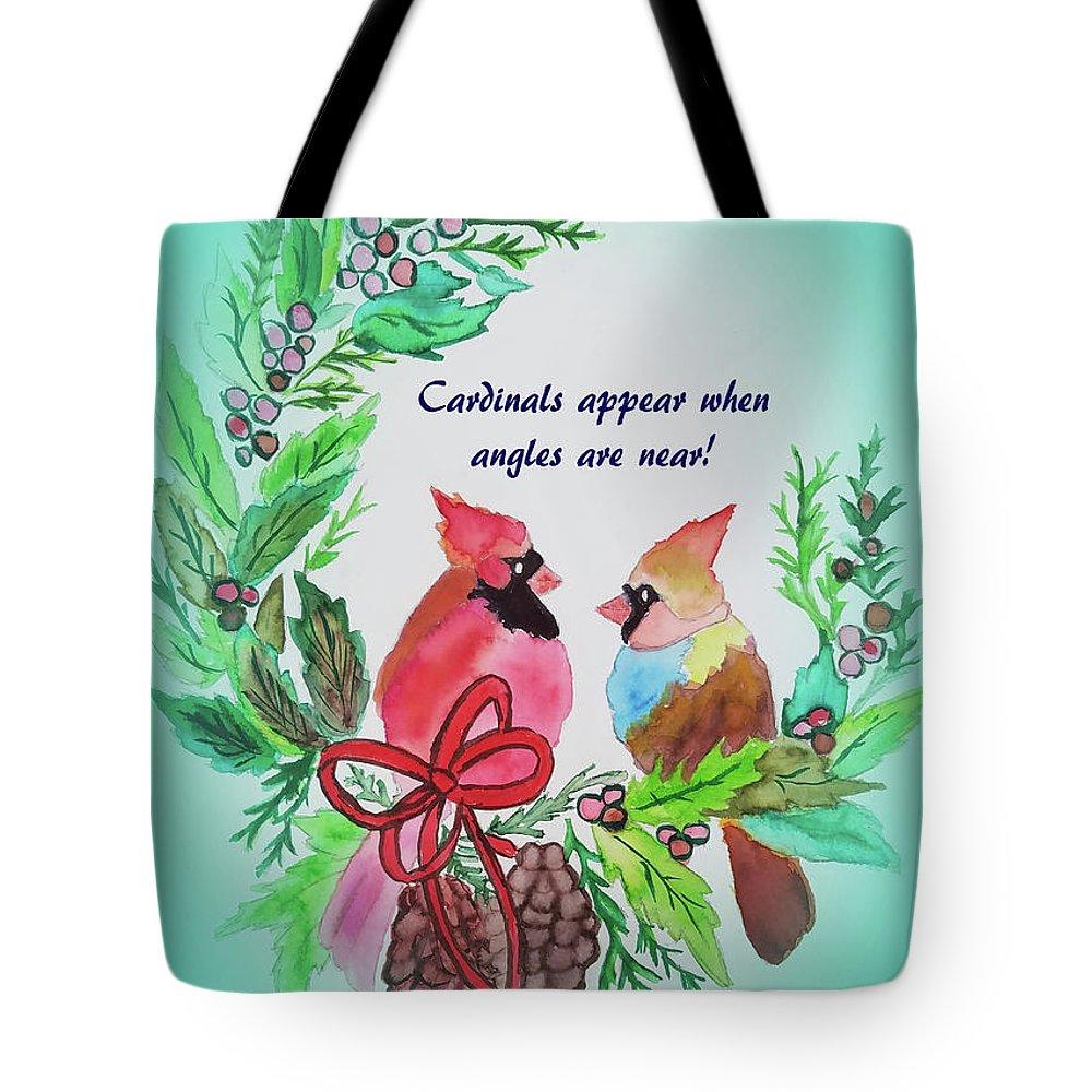 Tote Bag featuring the painting Cardinals Painted By Laurel Adams by Laurel Adams