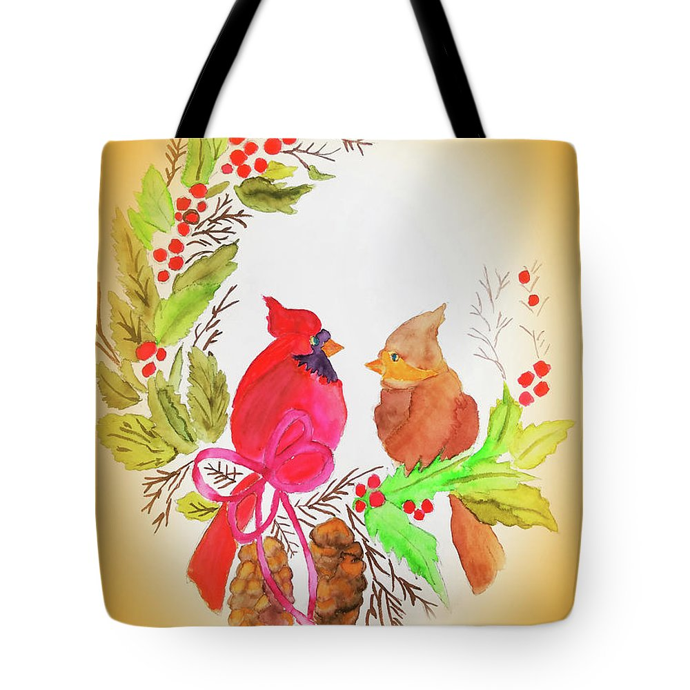 Tote Bag featuring the painting Cardinals Painted By Linda Sue by Linda Sue Bruton
