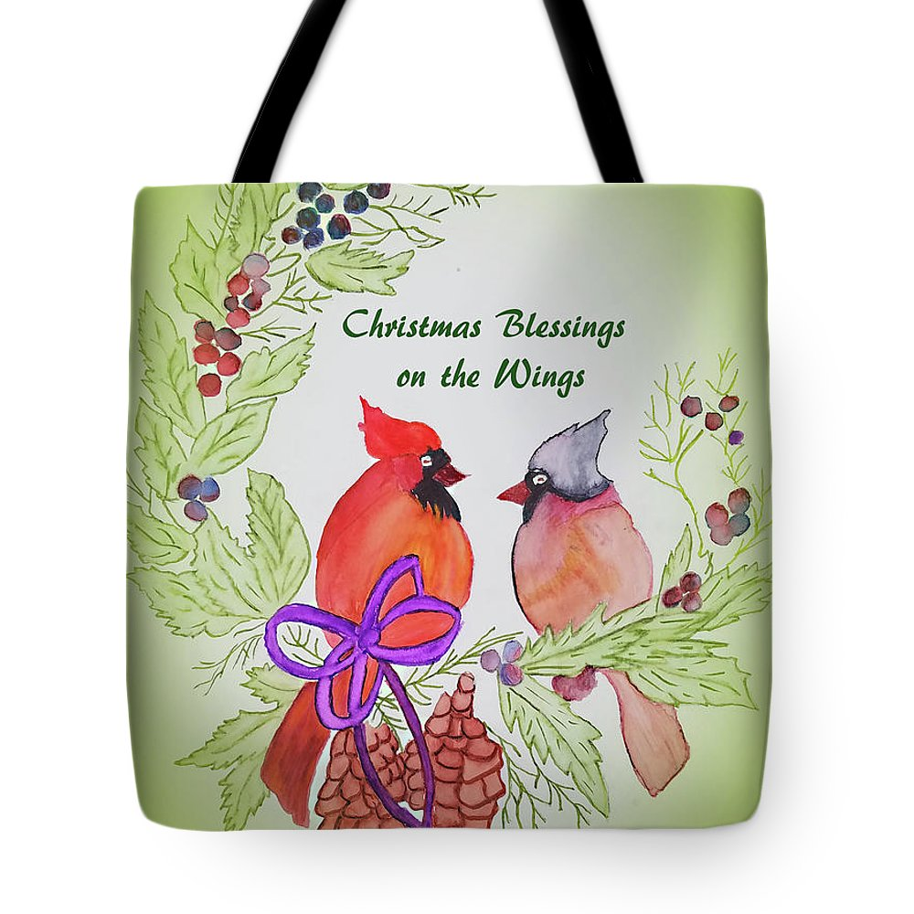 Tote Bag featuring the painting Cardinals Painted By Marcie Taylor by Marci Taylor