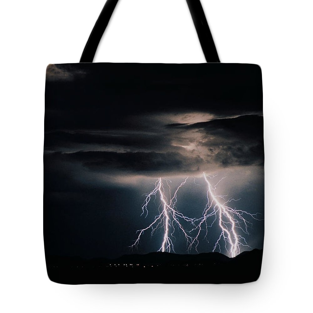 Arizona Tote Bag featuring the photograph Carefree Lightning by Cathy Franklin