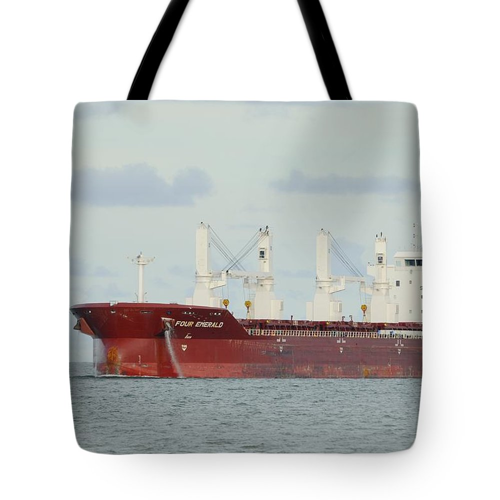 Freighter Tote Bag featuring the photograph Cargo Ship Four Emerald by Bradford Martin