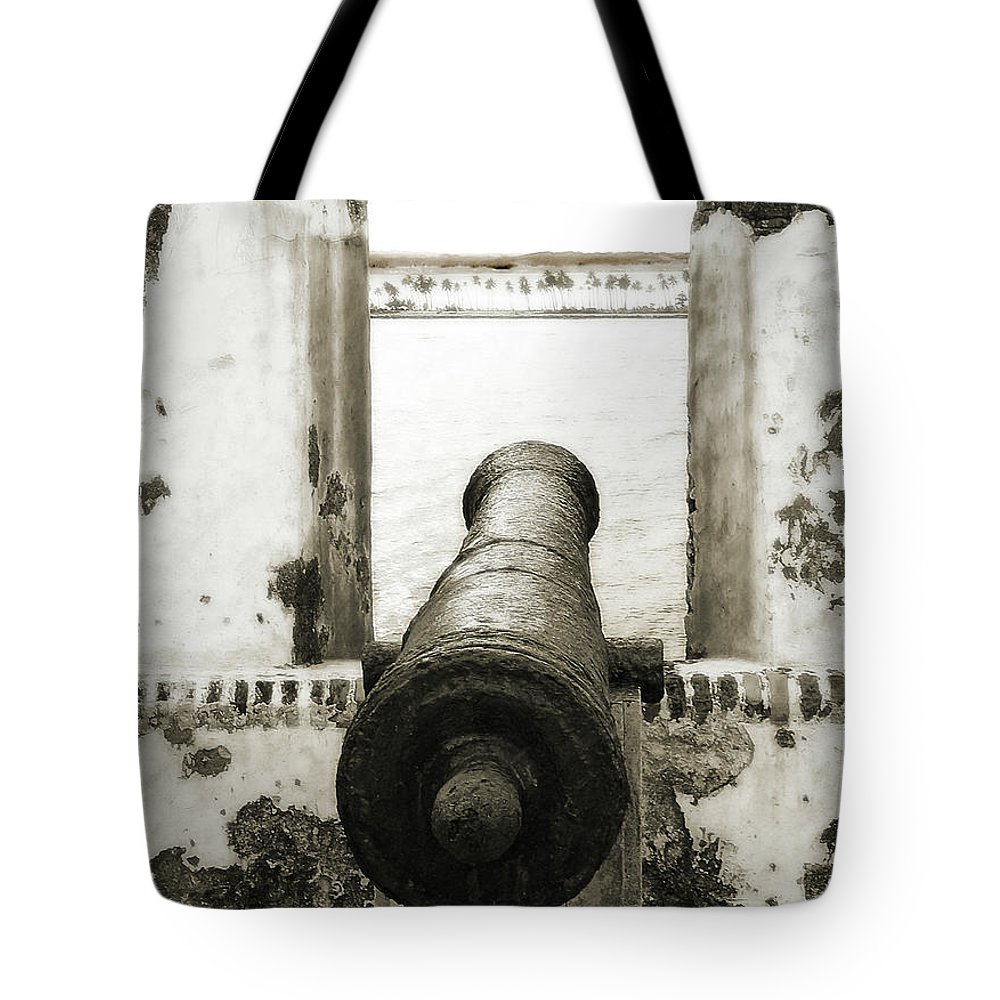 Cannon Tote Bag featuring the photograph Caribbean Cannon by Steven Sparks