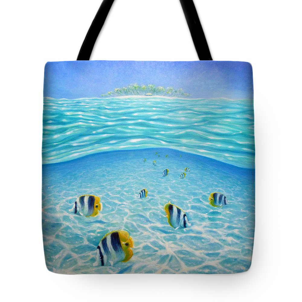 Caribbean Tote Bag featuring the painting Caribbean Island Dream by Gill Bustamante
