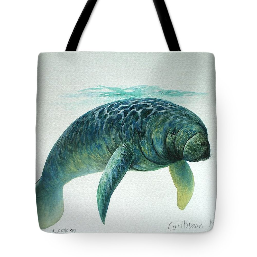 Manatee Tote Bag featuring the painting Caribbean Manatee by Christopher Cox
