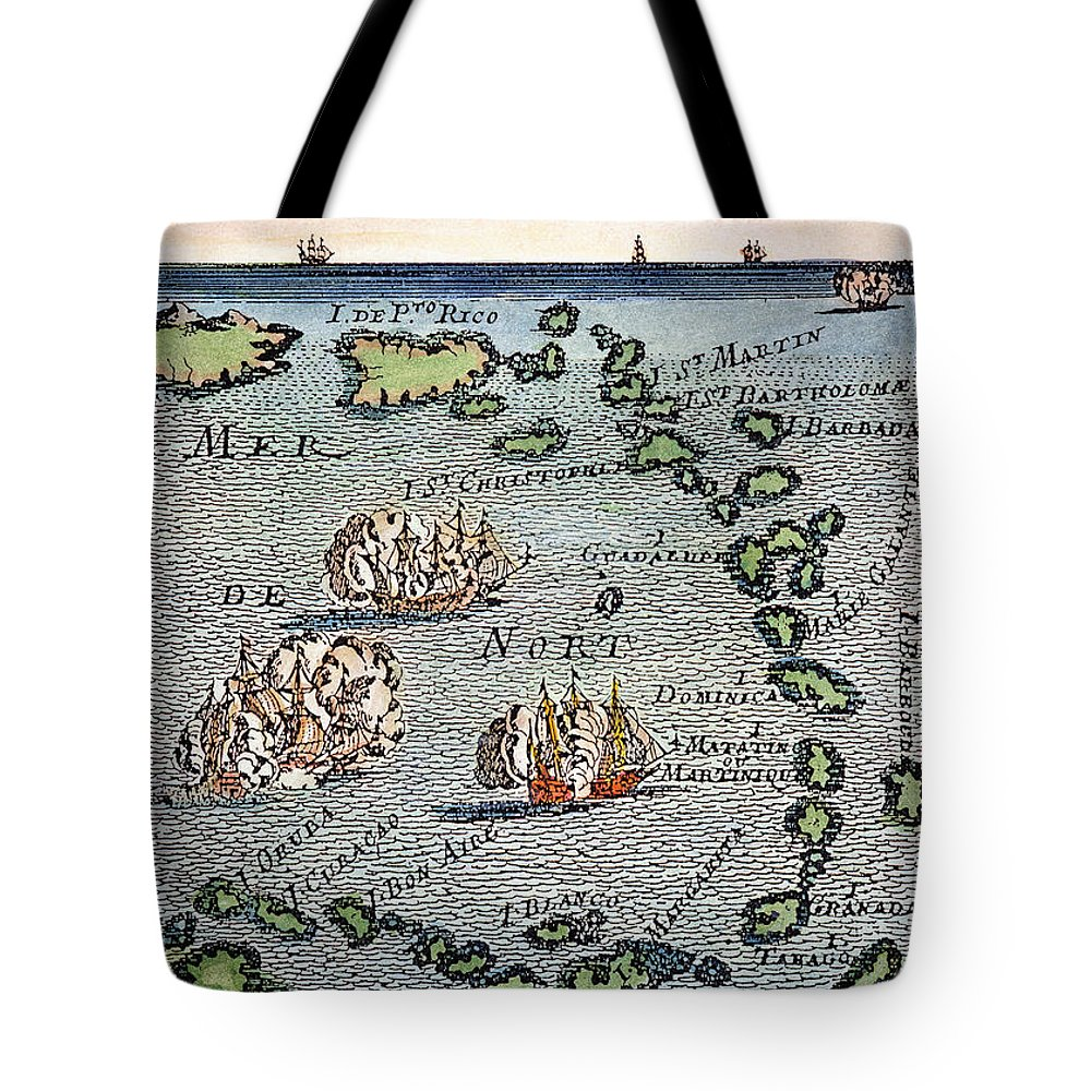 1688 Tote Bag featuring the photograph Caribbean Map by Granger