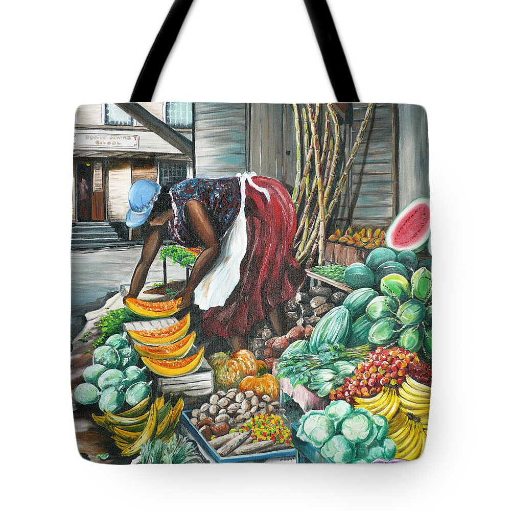 Caribbean Painting Market Vendor Painting Caribbean Market Painting Fruit Painting Vegetable Painting Woman Painting Tropical Painting City Scape Trinidad And Tobago Painting Typical Roadside Market Vendor In Trinidad Tote Bag featuring the painting Caribbean Market Day by Karin Dawn Kelshall- Best