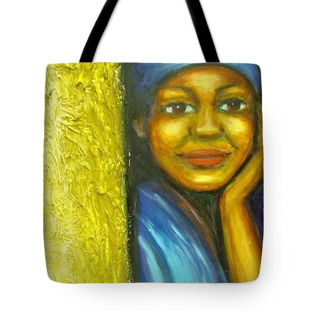 Tote Bag featuring the painting Caribbean Mystery Lady by Jan Gilmore