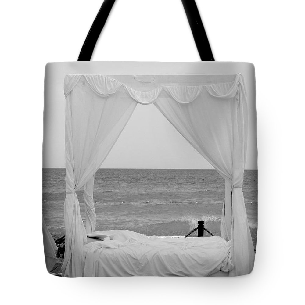Beach Tote Bag featuring the photograph Caribbean Relaxation Bed Single Vertical - Height For Triptych Black And White by Heather Kirk